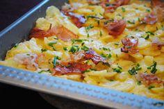 Küchenzaubereien: Gestampfte Blechkartoffeln mit knusprigem Schwarzwälder Schinken