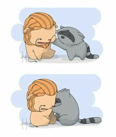 Clarke the lion & Lexa the raccoon.