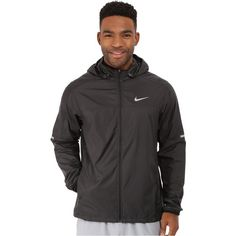 Nike Vapor Jacket (Black/Black/Reflective Silver) ($91) ❤ liked on Polyvore featuring men's fashion, men's clothing, men's activewear, men's activewear jackets, black and nike