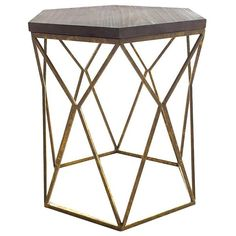 Chester End Table Gold Metal Hexagon (€73) ❤ liked on Polyvore featuring home, furniture, tables, accent tables, metal table, geometric side table, gold end table, gold metal end table and gold metal table