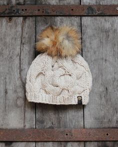 Handmade recycled American fox fur pom-pom knitted hat on Etsy, $59.55