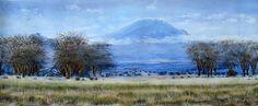 View of Kilimanjaro by Joel Ngoko of Kenya Kenyan Artists, Kilimanjaro, Mount Rainier, Africa, Mountains, Travel, Paintings, Image, Viajes
