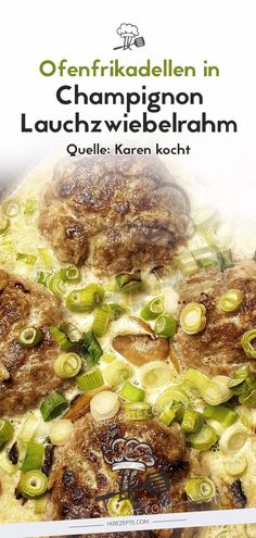 Oven meatballs in mushroom and spring onion cream – simple recipes - Rezepte Fun Easy Recipes, Supper Recipes, Easy Meals, Oven Recipes, Pumpkin Vegetable, Vegetable Recipes, Crock Pot Cooking, Easy Cooking, Gyro Recipe