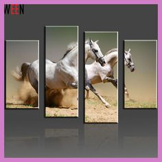 Running White Horse Modular Canvas Paintings On The Wall Large Picture Modern Home Cuadros Abstractos Canvas Printing