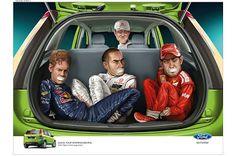 La publicidad de secuestros que hizo ofrecer disculpas a Ford. Publicidad de Ford. Michael Schumacher secuestrando a sus rivales Fernando Alonso, Lewis Hamilton y  Sebastian Vettel en el maletero de un Figo.