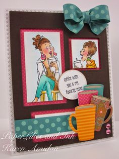 Art Impressions Rubber Stamps:  Ai Young Girlfriends BFFs ...Coffee BFF's  Coffee with you is my favorite perk!  Handmade card.