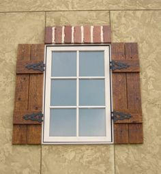 Wooden Shutters With Hardware On Brick Outdoor Rustic