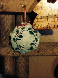 wreath ornament made from wood slice