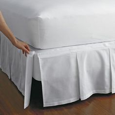 Detachable gathered cotton bedskirt with split corners. Attaches with Velcro®. This bedskirt is gathered at the top for an extra-luxurious look. The Company Store Twin Xl Bedding, Bedding Shop, Comforter Sets, Room Interior, Interior Design Living Room, Box Spring Cover, The Company Store, Box Pleats, Luxury Bedding