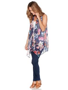 Sleeveless floral cover up