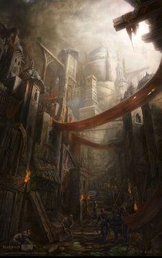 ArtStation - Diablo 3, Peter Lee Fantasy City, Fantasy Castle, Fantasy Places, Medieval Fantasy, Fantasy World, Twilight Princess, Hawke Dragon Age, Heroes Of The Storm, Fantasy Setting