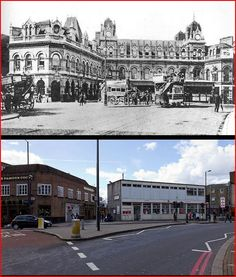 Highbury & Islington Station, before and after.  Dear God.  The old building was hit by a V1 in the war, but would have been eminently restorable.  From Tetramesh's Flickr stream, http://www.flickr.com/photos/tetrame...l-1229394@N22/.