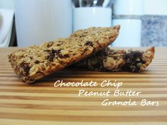 The Sauers: Chocolate Chip Peanut Butter Granola Bars Granola Bars Peanut Butter, Homemade Granola Bars, Yummy Treats, Yummy Food, Delicious Recipes, Tasty, Healthy Recipes, Breakfast Bars, Convenience Food