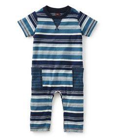 This Rain Blue & White Stripe Romper - Infant is perfect! #zulilyfinds