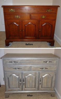 Before/After Maple Buffet Cabinet Refinished To A Driftwood Finish With  Silver Nickel Accents And