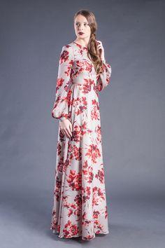 Modest Floral Print Long Sleeve Maxi Dress - Modest floor length