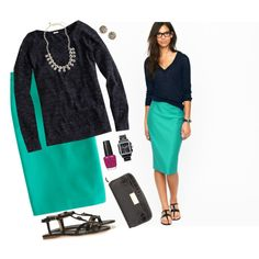 Outfit...teal skirt and black top.