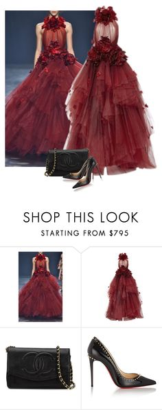 """Marchesa Gown"" by cherieaustin ❤ liked on Polyvore featuring Marchesa, Chanel, Christian Louboutin, marchesa, christianlouboutin and Louboutin"