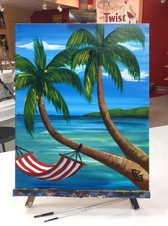 "We all wish were swingin' in a hammock in a ""Perfect Paradise!"" Paint this at a Painting with a Twist studio! Canvas Painting Tutorials, Easy Canvas Painting, Simple Acrylic Paintings, Small Canvas Art, Mini Canvas Art, Beach Canvas Paintings, Beginner Painting, Pastel Art, Beach Art"