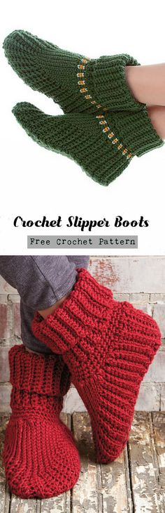 10 DIY Free Patterns for Crochet Slipper Boots Crochet Socks Pattern, Knitting Patterns, Crochet Patterns, Knitting Ideas, Crochet Slipper Boots, Crochet Slippers, Booties Crochet, Slipper Socks, Crochet Crafts