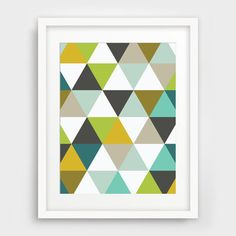 These multi-colored triangles really spice up a wall that just needs some action and movement. Just click the link to download and print for your very own modern home or office. http://etsy.me/29QZj7U - Melinda Wood Designs