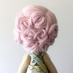 Blush pink pin-curls  #clothdoll #dollmaking #handmadedoll #heirloomdoll #pinkhair
