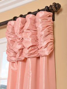 Flamingo Różowe Ruched Faux stałe Tafta zasłon