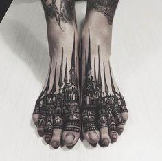 Castle foot tattoo