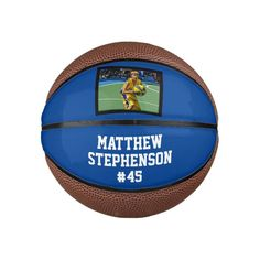 Blue Photo Basketball Ball - tap/click to personalize and buy  #kids #sports #photo #team #group Sports Art, Kids Sports, Personalized Basketball, Online Gift Shop, Sports Photos, Custom Photo, Blue Backgrounds, Kids Learning, Competition