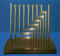 Best menorrah EVER! Midcentury modern Judaica! (someday I'm going to collect really cool menorrahs)