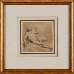 ARTIST UNKOWN (IN RESEARCH) partly male nude, awaiting drawing in pen and ink french or german influenced by the Italian school, 1700 ?