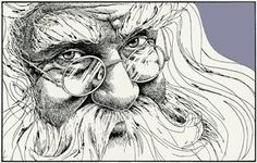 Mara Mattia Art: Cross Hatching Technique for drawing Santa Clause in Pen and Ink