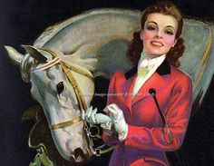 Girl w Horse Repro Greeting Card Roy Best Pinup by KatyDidsCards