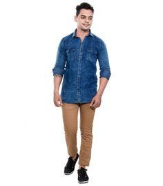 Grey Booze Blue Casual Slim Fit Shirt