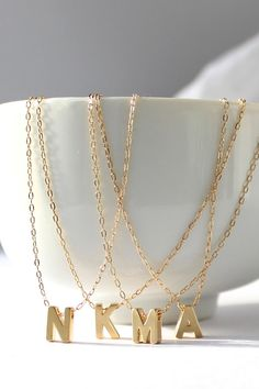 Personalized bridesmaid jewelry - Initial letter necklaces.