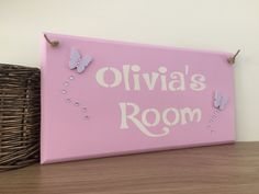 Personalised Childrens Door Plaque/sign - Wooden Plaque - Nursery Sign - Christening Gift - Childs Room - Butterflies by LittleBabyBuntings on Etsy