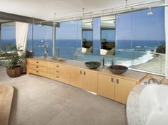 The Glass House Sink Bathroom Interior with Beautiful Pacific Ocean View