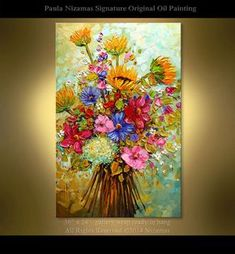 ORIGINAL Summer Bouquet Abstract Impasto Floral Oil Painting by Nizamas Ready to hang ready to ship