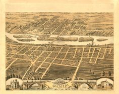 Old Map of Batavia Illinois 1869 Kane County