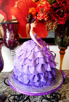 Barbie Doll Cake with a lavender ombre fondant dress..