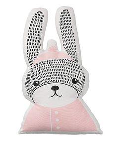 Look what I found on #zulily! Pink & Black Rabbit Pillow #zulilyfinds