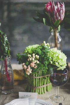 Cute florals with a Farmers Market theme: food & flowers!