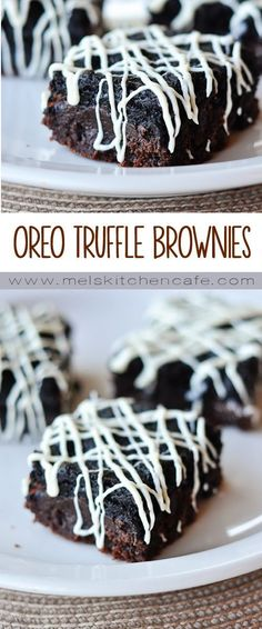 Oreo Truffle Brownies are brilliant, rich, and super delicious.These Oreo Truffle Brownies are brilliant, rich, and super delicious. Oreo Desserts, Mini Desserts, Easy Desserts, Delicious Desserts, Yummy Food, Plated Desserts, Tasty, Oreo Truffle Brownies, Oreo Cheesecake