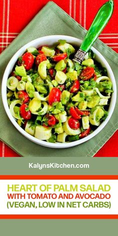 My Favorite Food, Favorite Recipes, My Favorite Things, Hearts Of Palm Salad, Avocado Tomato Salad, I Love Heart, Fresh Lime Juice, Plant Based Diet, Summer Salads