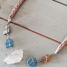 Beach Shack Project - Organic handknitted hemp rope and surgical stainless steel wire wrapped sea glass and pottery. £28