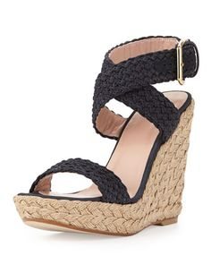 Alex Crochet Ankle-Wrap Wedge, Black by Stuart Weitzman at Neiman Marcus. I need these for summer!