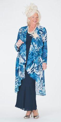 Box 2 navy/blue chiffon print coat, vest and skirt