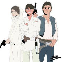 Star Wars: Luke, Leia and Han, Benadie Shekiel Star Wars, Revenge, Fan Art, Stars, Artwork, Anime, Work Of Art, Starwars, Fanart