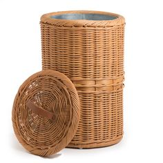 Inside Detail of Tall Wicker Trash Basket with Metal Liner in Toasted Oat