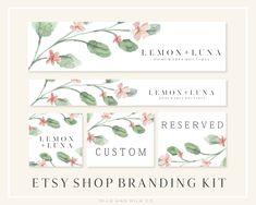 Floral Watercolor Greenery Etsy Shop Banner Set Etsy Shop | Etsy Branding Template, Branding Kit, Branding Design, Computer Love, Social Media Banner, Shop Logo, Custom Logo Design, Banner Design, Logos